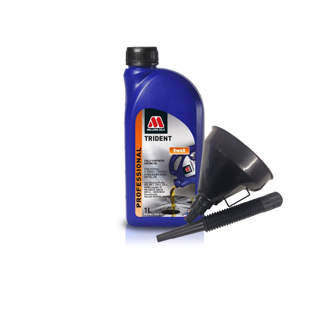 Millers Fully Synthetic 5W40 Turbo Charged 1 Litre Engine Oil + Funnel