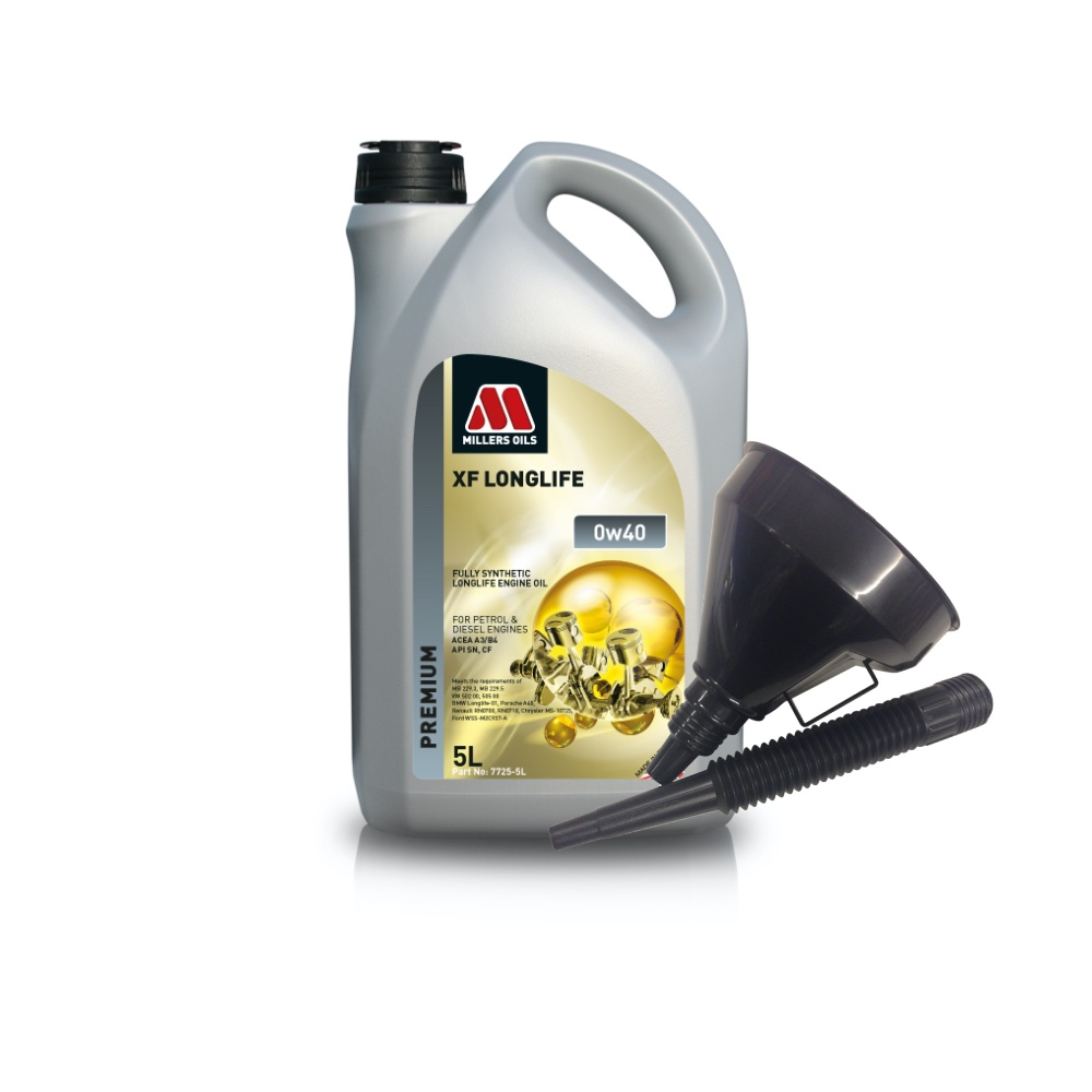 Millers Fully Synthetic 0W40 Merc GT-R Ford RS 2.5 5 Litre Engine Oil + Funnel