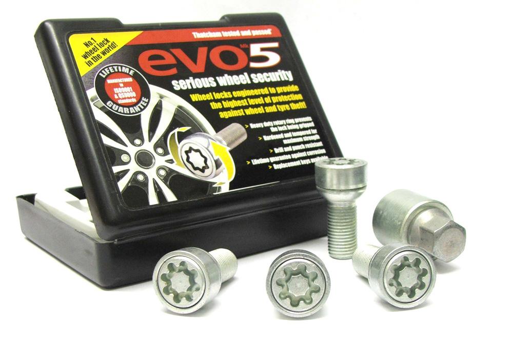 Evo5 085/5 High Security Alloy Wheel Locking Wheel Bolts Fits Volkswagen Golf Mk3,4,5 1991-2009 (5 bolt, M14 Thread)