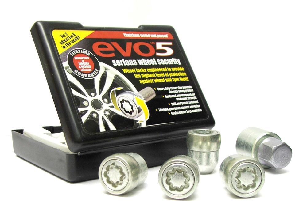 Evo5 479/5 High Security Alloy Wheel Locking Wheel Nuts Fits Volvo 340 1975-1991