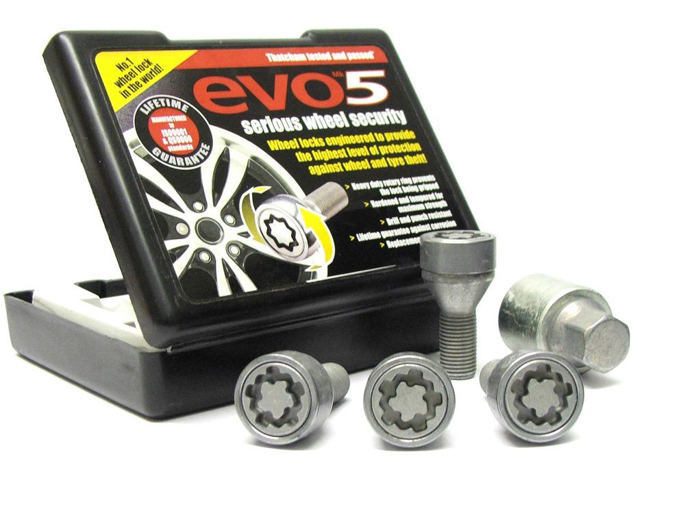 Evo5 481/5 High Security Alloy Wheel Locking Wheel Bolts Fits Fiat Qubo 2007-