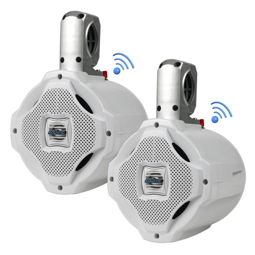 Lanzar AQAWBPR65WT Dual 6.5'' Bluetooth Marine Outdoor Wakeboard Speakers Pair