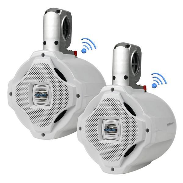 Lanzar AQAWBPR65WT Dual 6.5'' Bluetooth Marine Outdoor Wakeboard Speakers Pair Thumbnail 1