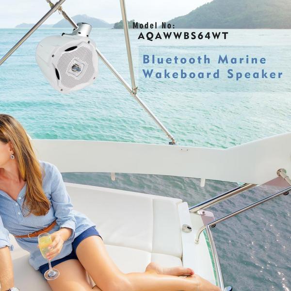 Lanzar AQAWBS64WT 6.5'' Bluetooth Wakeboard Marine Outdoor Speaker Single Thumbnail 6