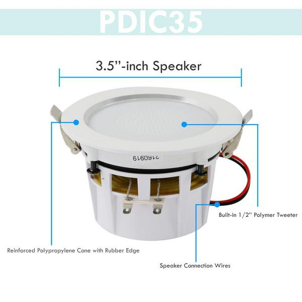 "Pyle PDIC35 3.5"" Inch 2-Way 140 Watts Aluminum Ceiling In Wall Speakers Single Thumbnail 4"