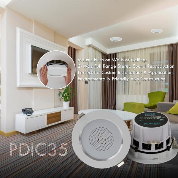 "Pyle PDIC35 3.5"" Inch 2-Way 140 Watts Aluminum Ceiling In Wall Speakers Single Thumbnail 5"
