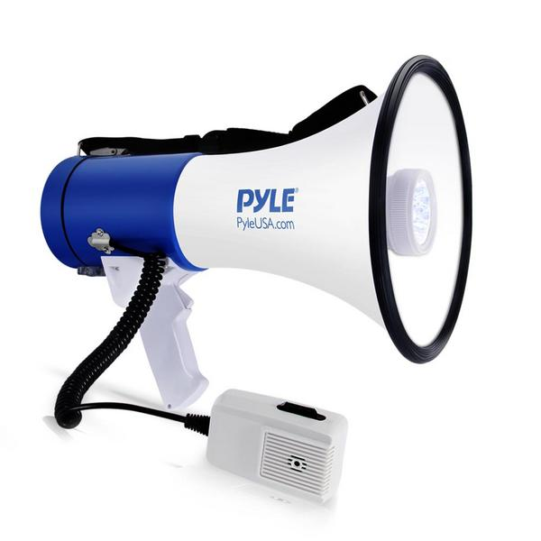 Pyle PMP51LT 50 Watt Megaphone Indoor Outdoor PA Built in LED Lights Single Thumbnail 1
