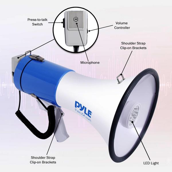 Pyle PMP51LT 50 Watt Megaphone Indoor Outdoor PA Built in LED Lights Single Thumbnail 3