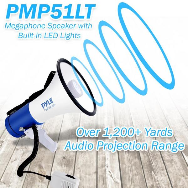 Pyle PMP51LT 50 Watt Megaphone Indoor Outdoor PA Built in LED Lights Single Thumbnail 4