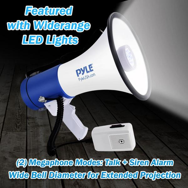 Pyle PMP51LT 50 Watt Megaphone Indoor Outdoor PA Built in LED Lights Single Thumbnail 5