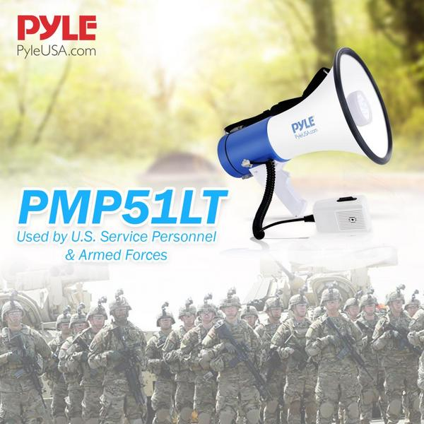 Pyle PMP51LT 50 Watt Megaphone Indoor Outdoor PA Built in LED Lights Single Thumbnail 6
