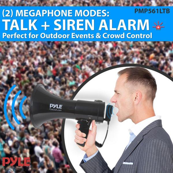 Pyle PMP561LTB 50 Watt Megaphone Indoor Outdoor Built in Rechargeable PA Single Thumbnail 8