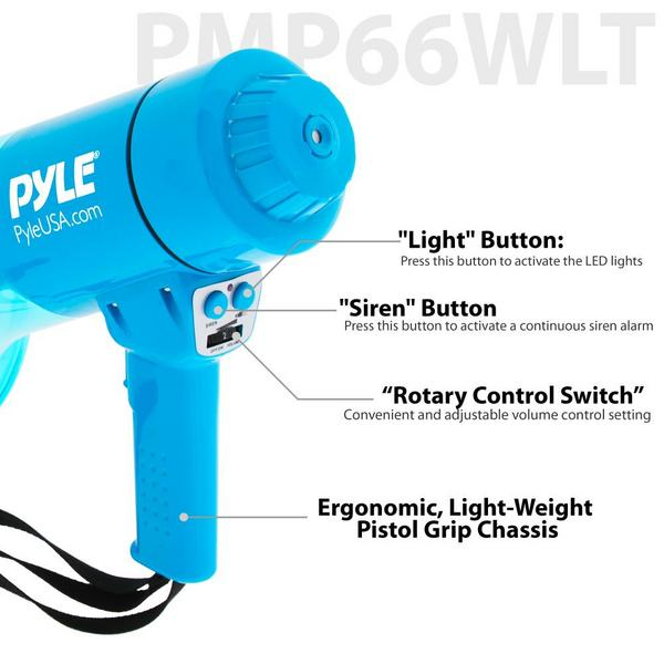Pyle PMP66WLT 40 Watt Water Resistant Indoor Outdoor PA Megaphone Single Thumbnail 8