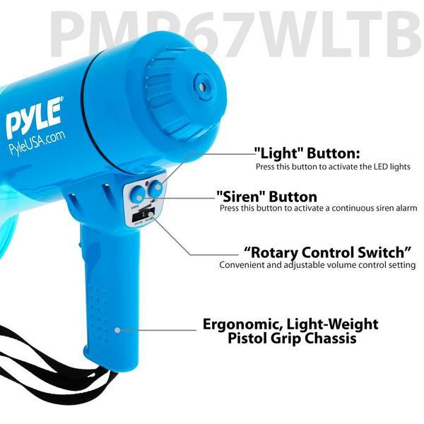 Pyle PMP67WLTB 40 Watt Water Resistant Indoor Outdoor PA Megaphone Single Thumbnail 5