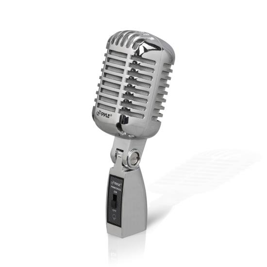 Pyle PDMICR42SL Classic Retro Vintage Style Dynamic Vocal Microphone with 16ft XLR Cable (Silver)