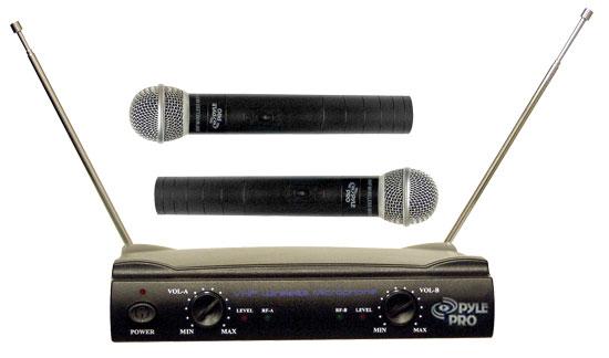 Pyle Pro Dual Twin VHF DJ Party Karaoke Wireless Handheld Microphone System