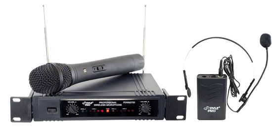 Pyle Dual Twin VHF DJ Party Karaoke Wireless Handheld Headset Microphone System