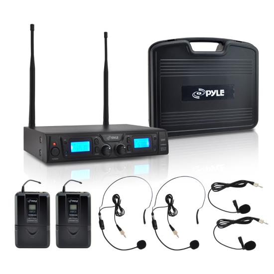Pyle PDWM3365 2 Channel UHF Wireless Microphone System 2 Lavalier 2 Headsets
