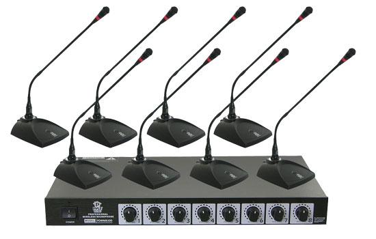 Pyle Pro Eight VHF DJ Wireless Conference Desktop Desk Mics Microphone System
