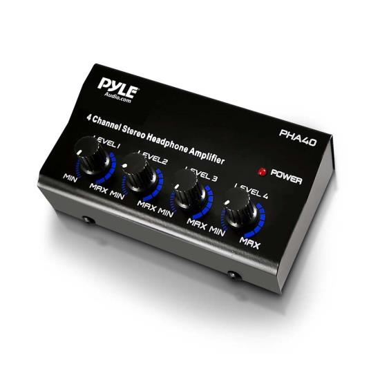 Pyle Pro Music DJ 4 Channel Compact Stereo Headphone Amplifier Distribution Amp