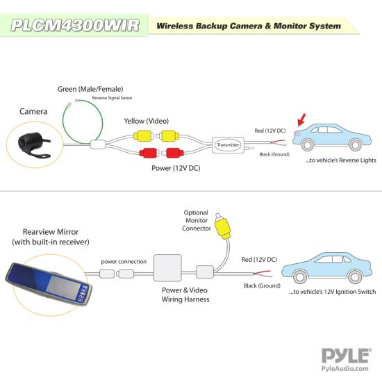 Wireless reversing camera diagram wiring diagram thompsons ltd pyle plcm4300wir touchscreen rear view mirror auto reversing camera system wireless wireless reversing camera diagram asfbconference2016 Image collections
