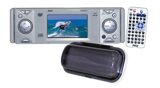 Pyle PLDMR3U In-Dash Marine CD/DVD Receiver with 3'' Built In Monitor
