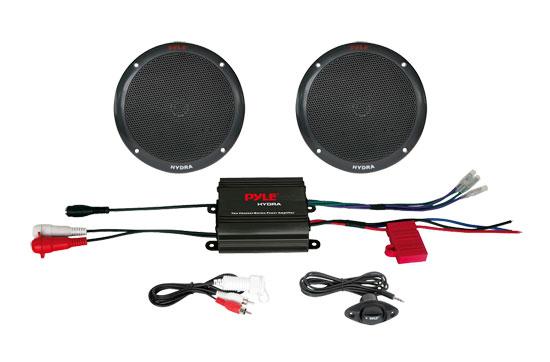 """Pyle PLMRKT2B 2 Channel 400w WaterProof Micro Marine Amplifier & 6.5"""" Speakers"""