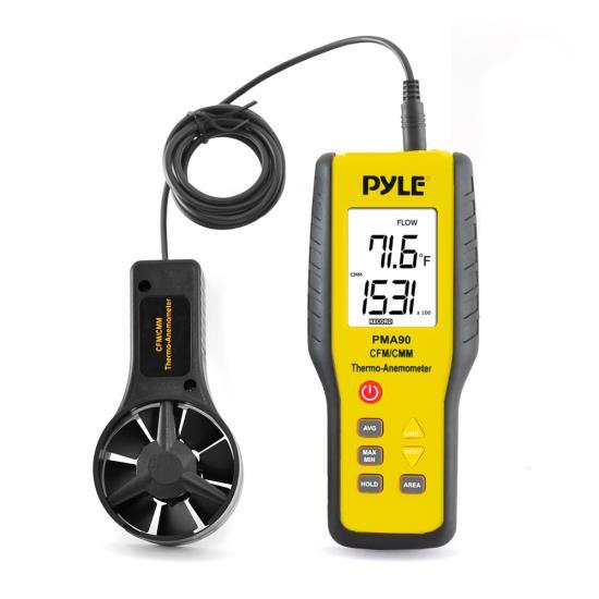 Pyle-Meters PMA90 Digital Anemometer / Thermometer for Air Velocity, Air Flow
