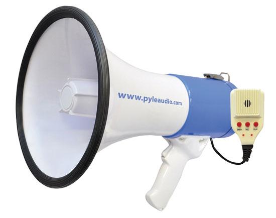 Pyle Pro Megaphone & Strap Mega Phone 50w Pistol Grip Loud Speaker With Aux In