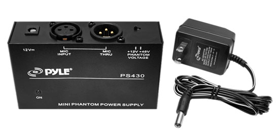 PYLE-PRO PS430 Compact 1-Channel 48V Phantom Power Supply with 12V Adapter