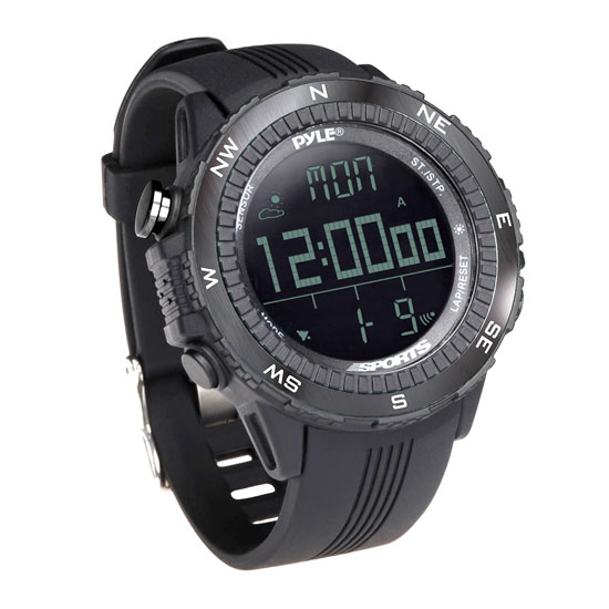 Pyle PSWWM82BK Digital Sports Watch Altimeter Barometer Chronograph Compass