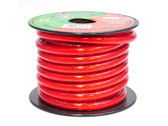 Pyramid RPR425 4 Gauge Clear Red Power Wire 25 ft. OFC