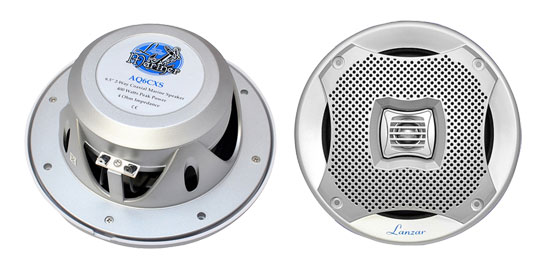 "Lanzar AQ6CXS WaterProof 400W 6.5"" Inch 2 Way Marine Boat In Wall Cabin Speakers"