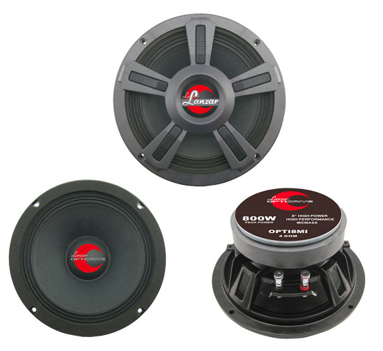 "Lanzar Opti Pro Mid Bass Driver 8"" 4 Ohm 800w In Car Audio Subwoofer Sub Woofer"