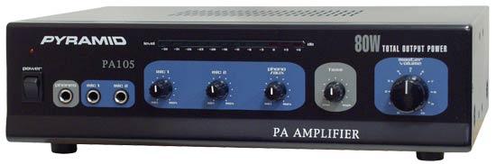 Pyramid PA105 80 Watt Microphone AC & DC 12v PA Amplifier 70V & Mic Talkover