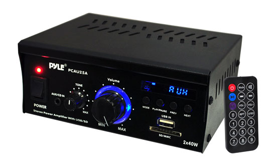 Pyle PCAU25A 2 x 40 Watt Stereo Power Amplifier USB/SD AUX Player & Remote