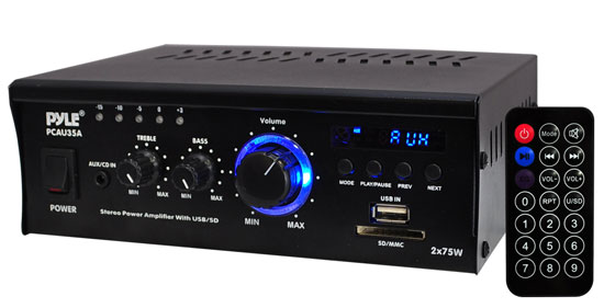 Pyle Home Audio PCAU35A 2 x 75 Watts Mini Power Amplifier USB/SD Card Input