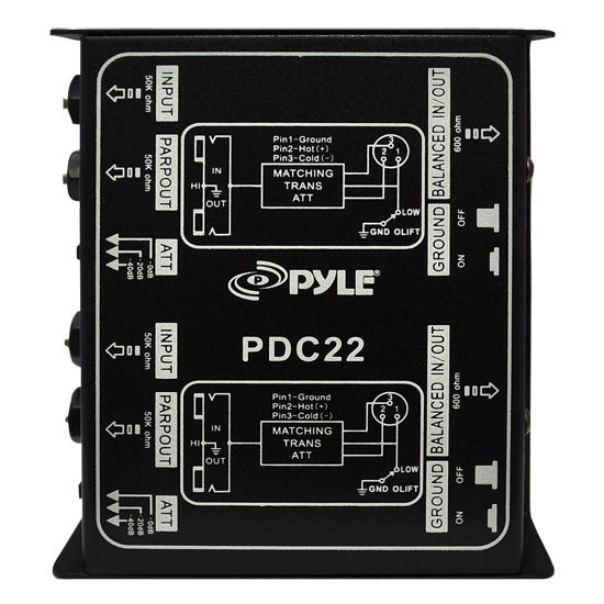 Pyle-Pro PDC22 Dual 1/4'' Instrument To Balanced & Unbalanced (1/4''/XLR) Direct Box
