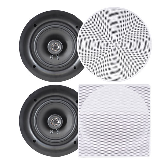 Pyle PDIC66 In-Wall/In-Ceiling 6.5-Inch Dual Stereo Speakers, 200 Watt, 2-Way, Flush Mount, White by Pyle