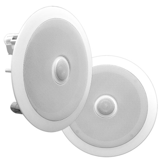 "Pyle Home 8"" Pair Of 2-Way In Ceiling Wall HiFi Speakers Flush Mount White"
