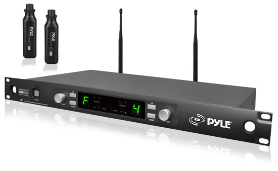 Pyle PDWM3450 UHF Wireless Microphone System 2 Plug-in XLR  Transmitters Any Mic