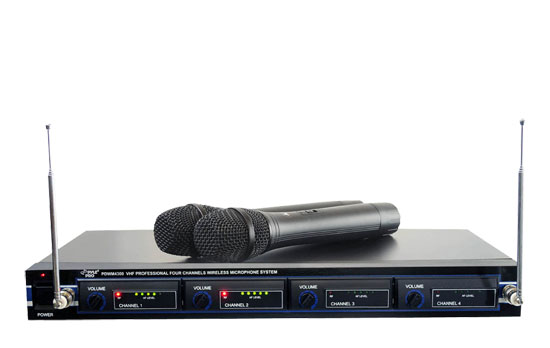 Pyle PDWM4300 4 / Quad VHF Wireless Rack Mount Mixed Microphone Mic System Kit