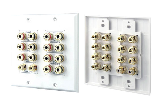 Home Hi Fi Cinema 7.1 Speaker Wall Plate Binding Post Connection Block White