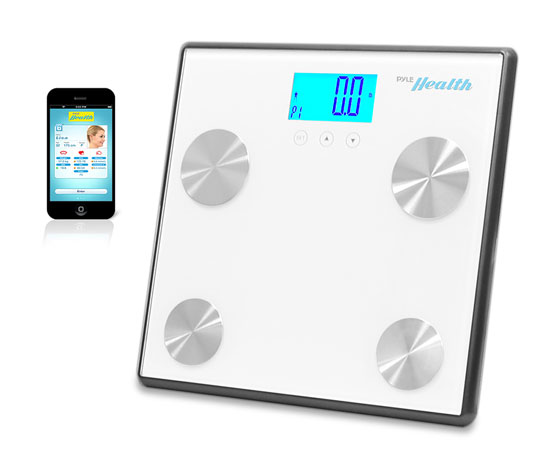 Pyle Sport PHLSCBT4WT Bluetooth Digital Weight & Personal Health Scale White