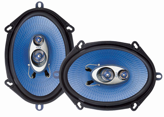 "Pyle PL573BL 5"" x 7"" & 6"" x 8"" 300w Three-Way Car Audio Door Shelf Speakers Pair"