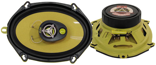 "Pyle Gear X Yellow 5x7"" Coaxial 3 Way Pair Of Car Door Speakers 480w Ford Mazda"