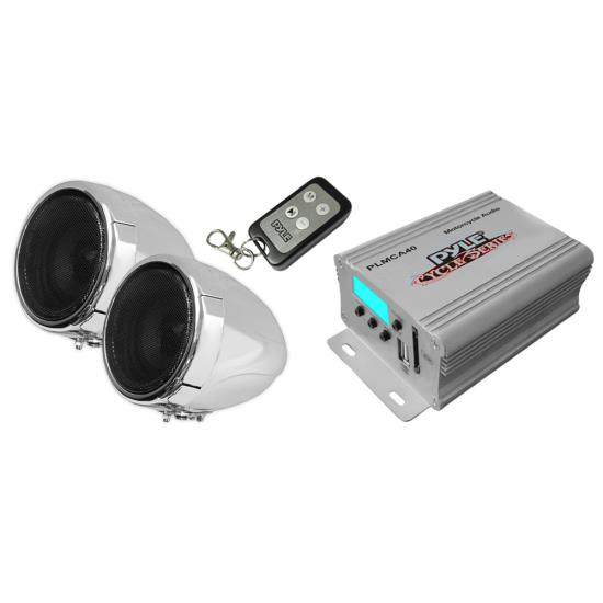 PLMCA40 MTV Motorcycle Boat Sound 2 Speakers + Amplifier MP3 USB Amp Package