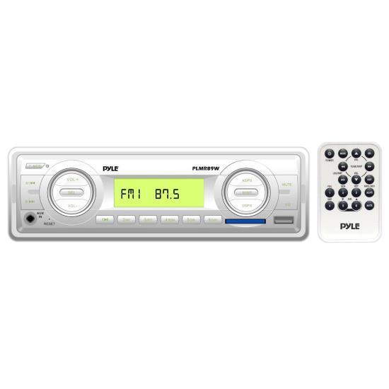 Pyle PLMR89WW AM/FM-MPX In Dash Marine MP3 Weatherband/USB SD Card Function