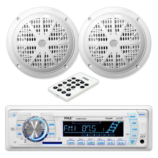"""Pyle PLMRKT32WT Marine Boat Stereo SD MP3 USB Stereo & 5.25"""" Speakers Set Kit"""