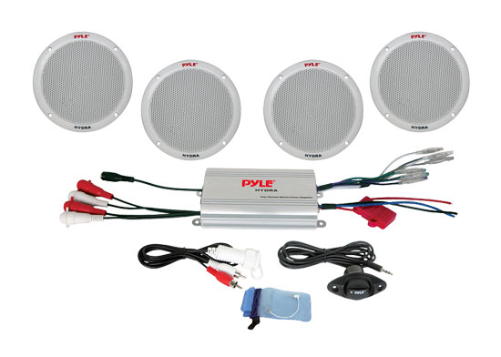 "Pyle PLMRKT4A 4 Ch WaterProof MP3/iPod Amplified 6.5"" Marine Speaker System"